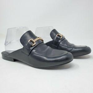 Steve Madden Black Leather Kandi Mules Flats Shoes